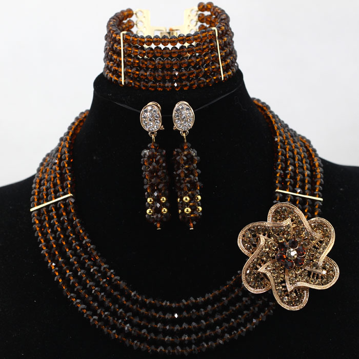 New 5 Strands Chocolate Brown Chunky African Jewelry Sets 18K Party Crystal Necklace Earrings Bracelet Free shipping WD135(China (Mainland))