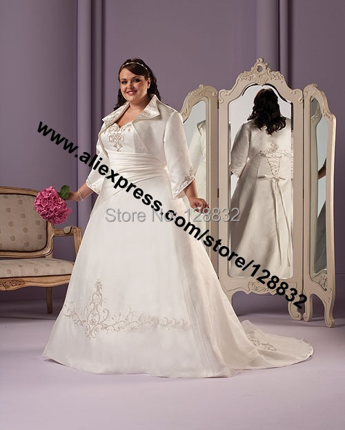 Long Sleeve Wedding Dresses Size 14 : Dress with long sleeve jacket bridal gown embroidery custom size