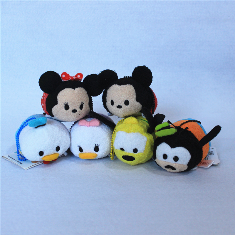 "Free 6Pcs/lot 3.5"" Mini Tsum Tsum Minnie Mickey Mouse Daisy Donald Duck Goofy Pluto phone Cleaner pendants toys"