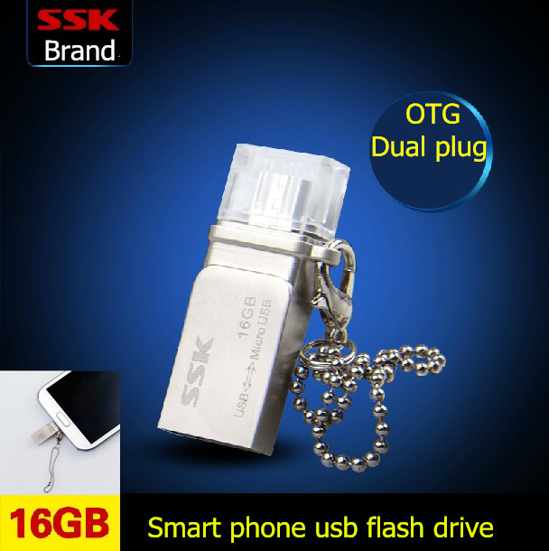 SSK SFD236 16GB OTG USB Flash Drives Smart Phone Tablet PC External Storage Micro 16G Pen Drive Memory Usb Stick Free shipping(China (Mainland))