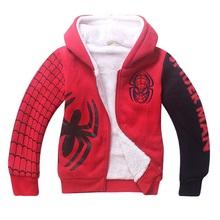 Children winter double-deck thicken coat Boys fashion Spider man hoodies Kids Long sleeve down jacket sweatshirts cotton TZ106(China (Mainland))