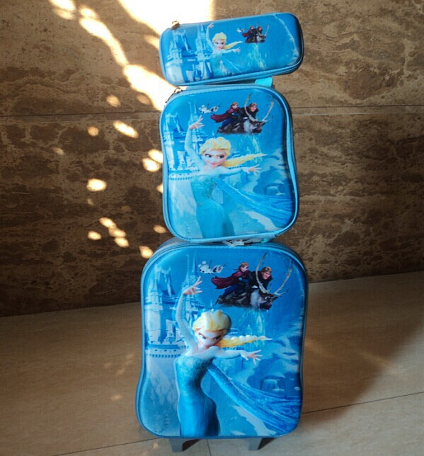 Buy 1 get 1Free gift Popular 3pcs/set Frozen rolling luggage sets 3D EVA printing kids travel bags set wheels girl