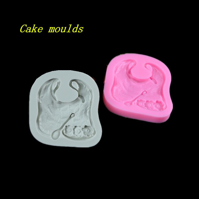 73*65*12mm baby bib shape silicone mold fondant cake chocolate decoration mould baking tools DIY craft mold