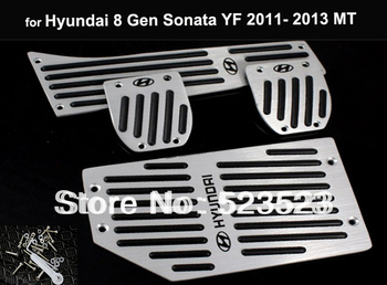 Free Ship for  Hyundai 8 Gen Sonata YF 2011 12 13 Fuel Brake Foot Rest MT Pedals Plates  - Alloy 4pcs Manual Transimission