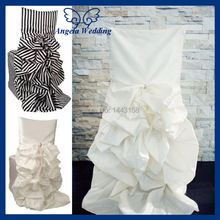 CH003 wholesale 100% polyester ruffled striped wedding white gathered chair cover(China (Mainland))