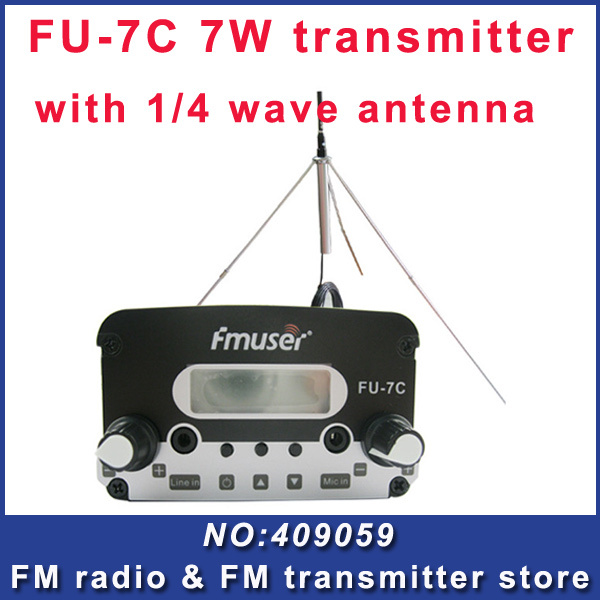 FU-7C 7W broadcast silver fm radio transmitter and 1/4 waveGP antenna with power adapter FREE Shipping(China (Mainland))