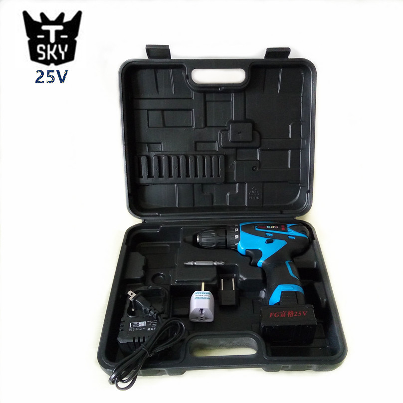 25V 1700R/MIN two speed Cordless drill Lithium Battery hand electric drill bit home electric screwdriver power tool set box case(China (Mainland))