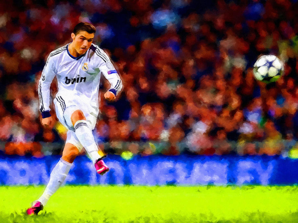 Professional Artist Handmade Real Madrid Rich Soccer Player Handsome Christiano Ronaldo Oil Painting On Canvas For Wall Artwork(China (Mainland))