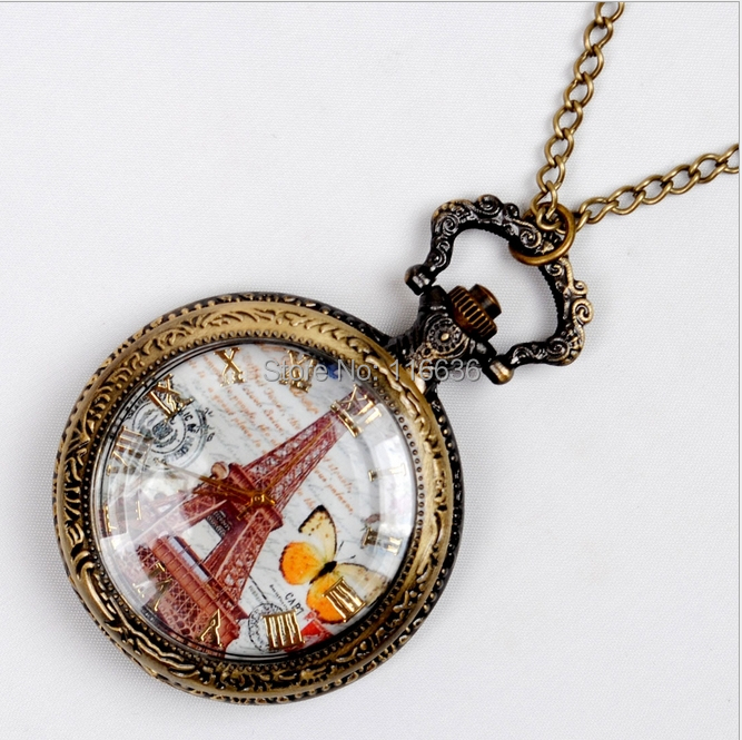 100 pc Vintage Eiffel spring butterfly pocket watch Necklace new old fashion fashion woman unisex women(China (Mainland))