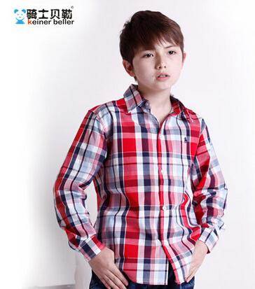 Boy Shirt Long Sleeve Plaid Red Blue Purple Color Big Size Clothing Spring Fashion Kid Clothes School - fashion goods store