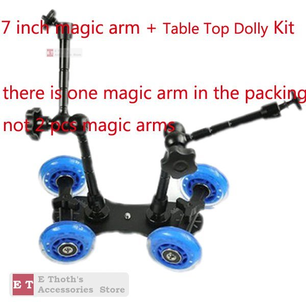 """WHOLESALES for Table Top Dolly Kit 7"""" Magic Arm Skater Wheel Truck Stabilizer For 5D2 7D Camera"""