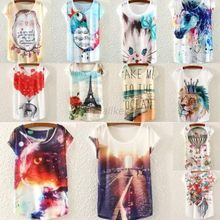 Womens Tops Fashion 2016 Multi-Style Print Casual Women Short Sleeve Loose Casual T-shirt Tops(China (Mainland))