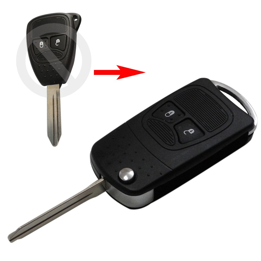 New Modified Flip Folding Key Shell for Chrysler Jeep Compass Wrangler Patriot Remote Key Case Fob 2 Button(China (Mainland))