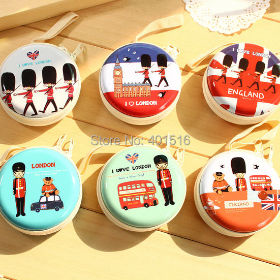 2014 New Korea Style Cute Royal Police Round Tin Purse Coins Purse
