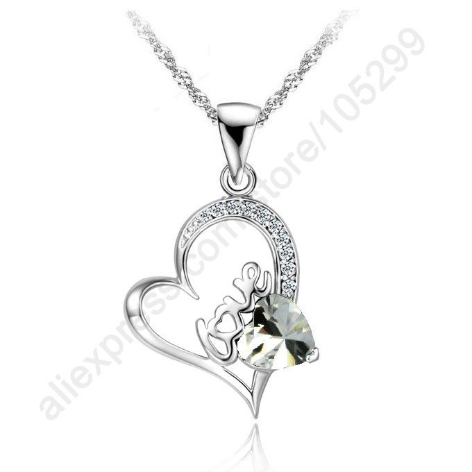 Buying Bargains Wholesale Jewelry Necklace 925 Sterling Silver Love Letter Heart Cubic Zirconia Pendant Jewellery Necklaces(China (Mainland))
