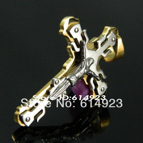 New Arrival 18k Gold 316L Stainless Steel Jesus Cross Pendants Necklaces For Men Free Shipping 2012 Fashion Jewelry TP005