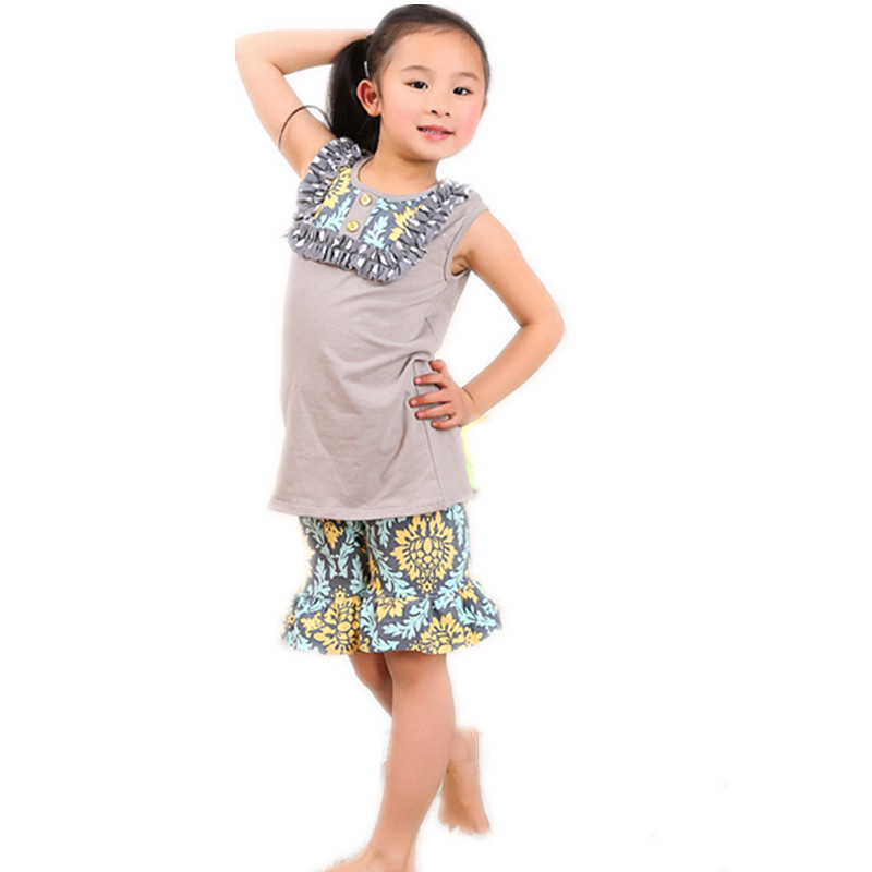 Retail 0-6 T Baby Girls Boutique Clothes Kids Clothes Gray Floral Summer Short Set Toddler Girl Clothing Outfits Boutique(China (Mainland))