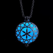Glowing necklace for women Steampunk Necklace Pendants Magical Glow In The Dark Necklace Hollow Round Silver Vintage Necklaces