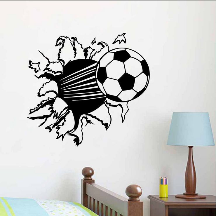 Mouse over image to zoom Details about Personalised Football Bursting Through Wall Sticker Soccer quotes Decal Art TM8486S(China (Mainland))