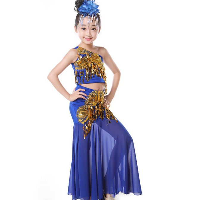 Children fishtail skirt national stage costumes india Performance clothing sequins girls belly dance set(China (Mainland))