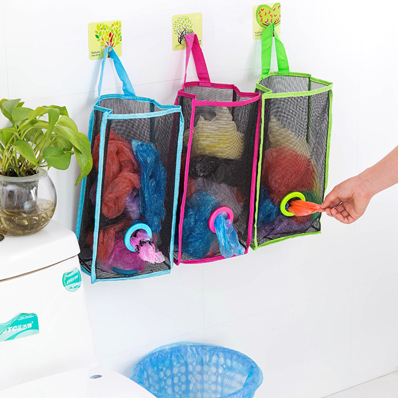 Hanging Home Plastic Carrier Bag Storage Container Holder Organizer