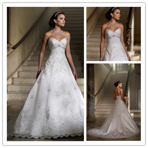 Free shipping luxurious sweetheart beaded lace empire for Low cut back wedding dress