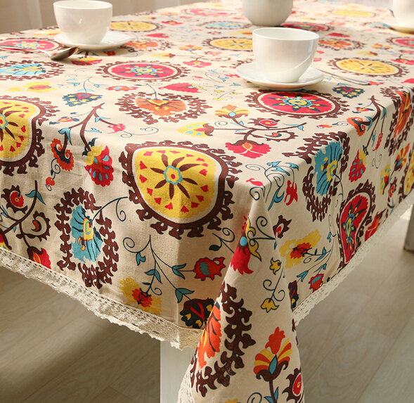 Cotton linen lace tablecloth Daisy pastoral Linen Tablecloth table cloth dining table cover desk towels(China (Mainland))