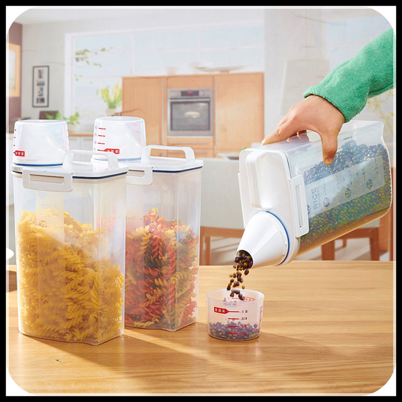 Kitchen Storage Organizer 2Kgs Grain Storage Container Rice Holder Box Cereal Bean Container Sealed Box with Measuring Cup(China (Mainland))
