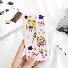 Buy Sailor Moon Soft Pink Color Case iPhone 7 6 6s 4.7 5.5 plus Lovely Cute Cartoon Back Bling Star Magic Wand Bow Phone Cover for $5.57 in AliExpress store