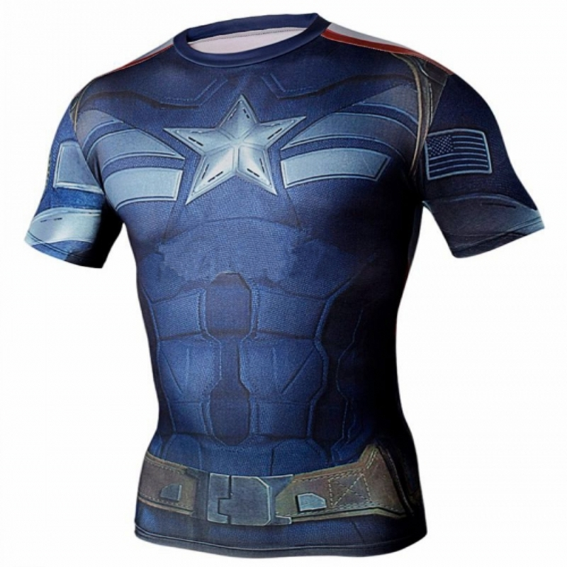 2016 Marvel Captain America 2 Super Hero lycra compression tights T shirt Men fitness clothing short sleeve XS-XXXXL - Fashion Clothing Store NO.1 store