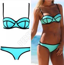 2015 Hot sale Triangle Bikinis Swimwear Padded Women New Neoprene Bikini Swimsuit Push Up High Quality