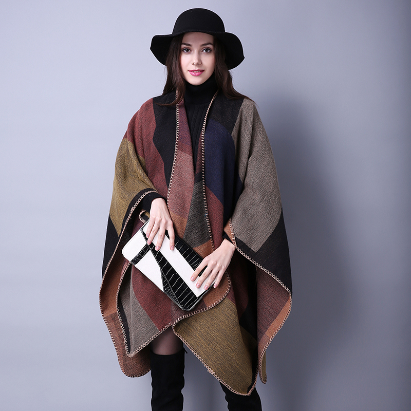 Za Winter Fashion Brand Plaid Scarf Women Scarf Wrap Big Wool Shawls and Scarves Winter Check Blanket Poncho bufanda S-008(China (Mainland))