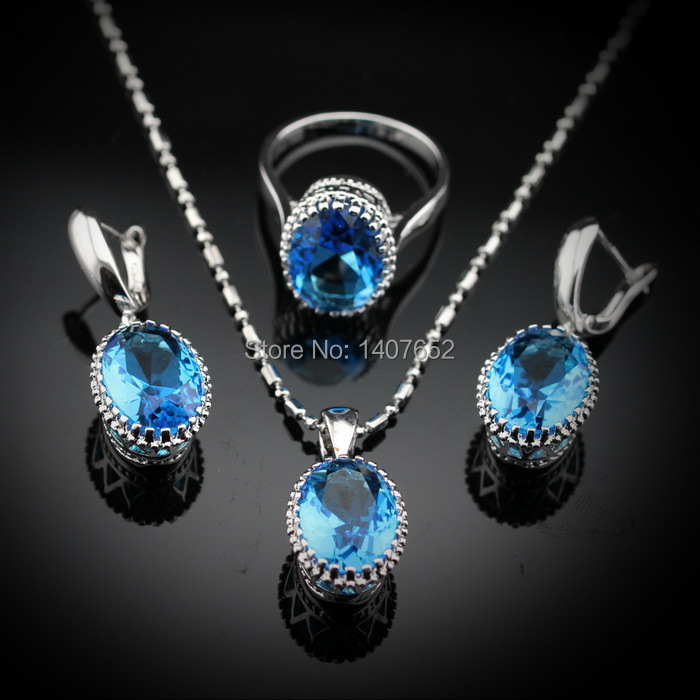 Charming Oval Blue Topaz Women Jewelry Sets 925 Sterling Silver Earrings/Pendant/Necklace/Rings Free Jewelry Box JS93(China (Mainland))