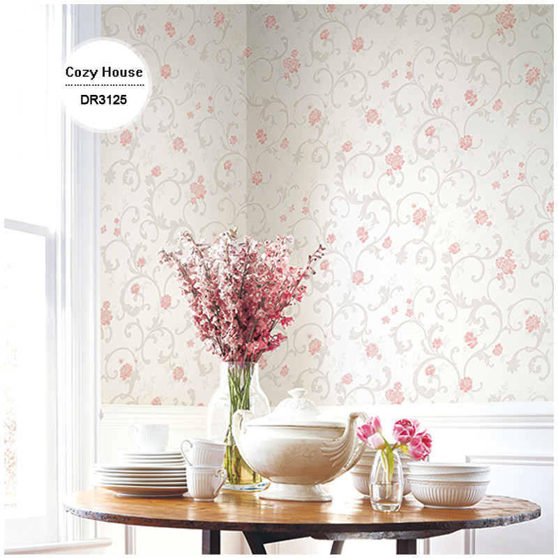golden edge non woven wallpapers ivory lovely small countryscroll floral wall decals mural for bedroom wedding decoration(China (Mainland))