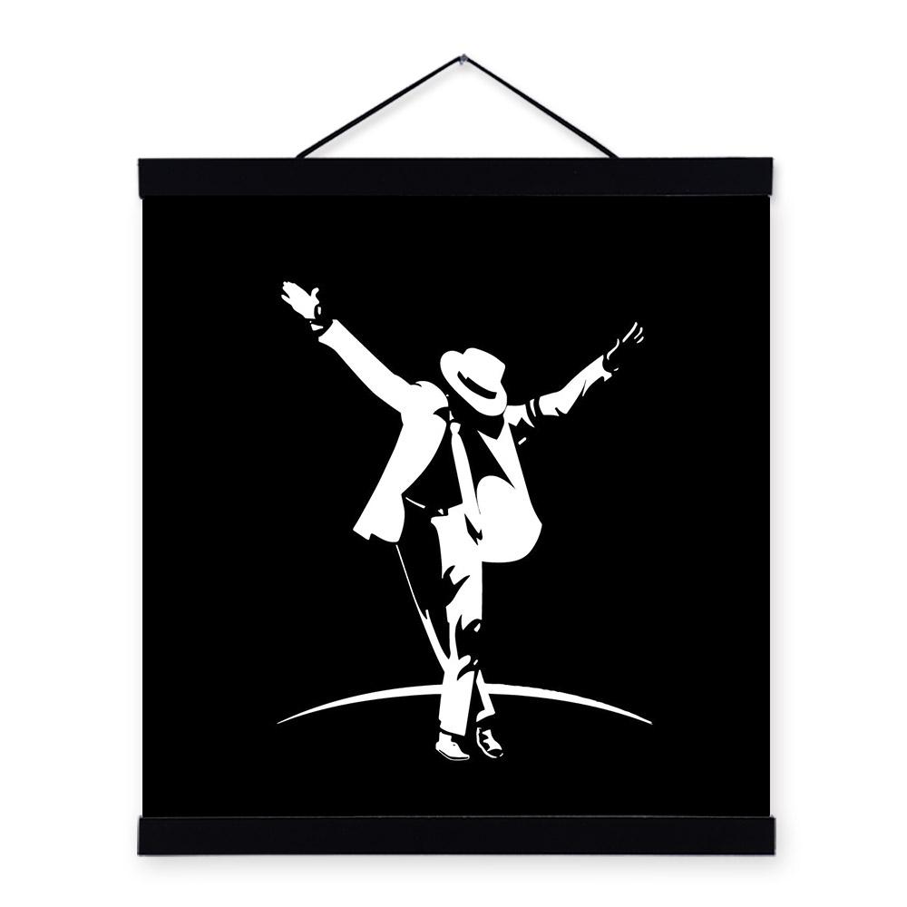 現代の抽象的な黒白machaelジャクソンポスタープリントミニマリストポップミュージック有名人キャンバスギフトベッド ...