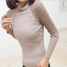 Autumn Winter New Fashion Turtle Neck Button Lace Tricotado Women Sweater Slim Pullovers Casual Knitted Knitwear 8886(China (Mainland))