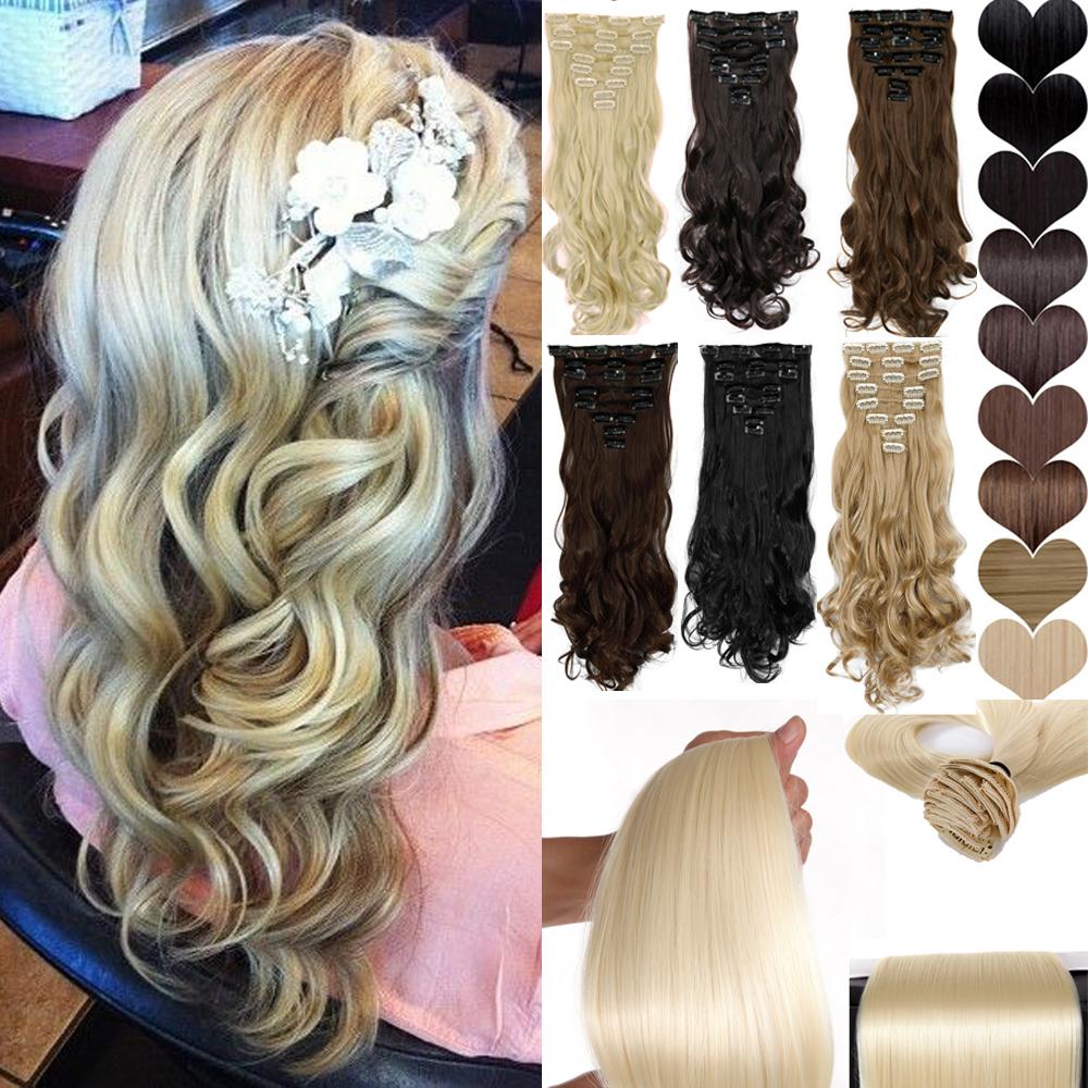 "Maga Hair Long 24"" New Women Party Hair Extension 8PCS/SET Full head Clip in ins Hair extensions 100% as Natural hair Free Ship(China (Mainland))"