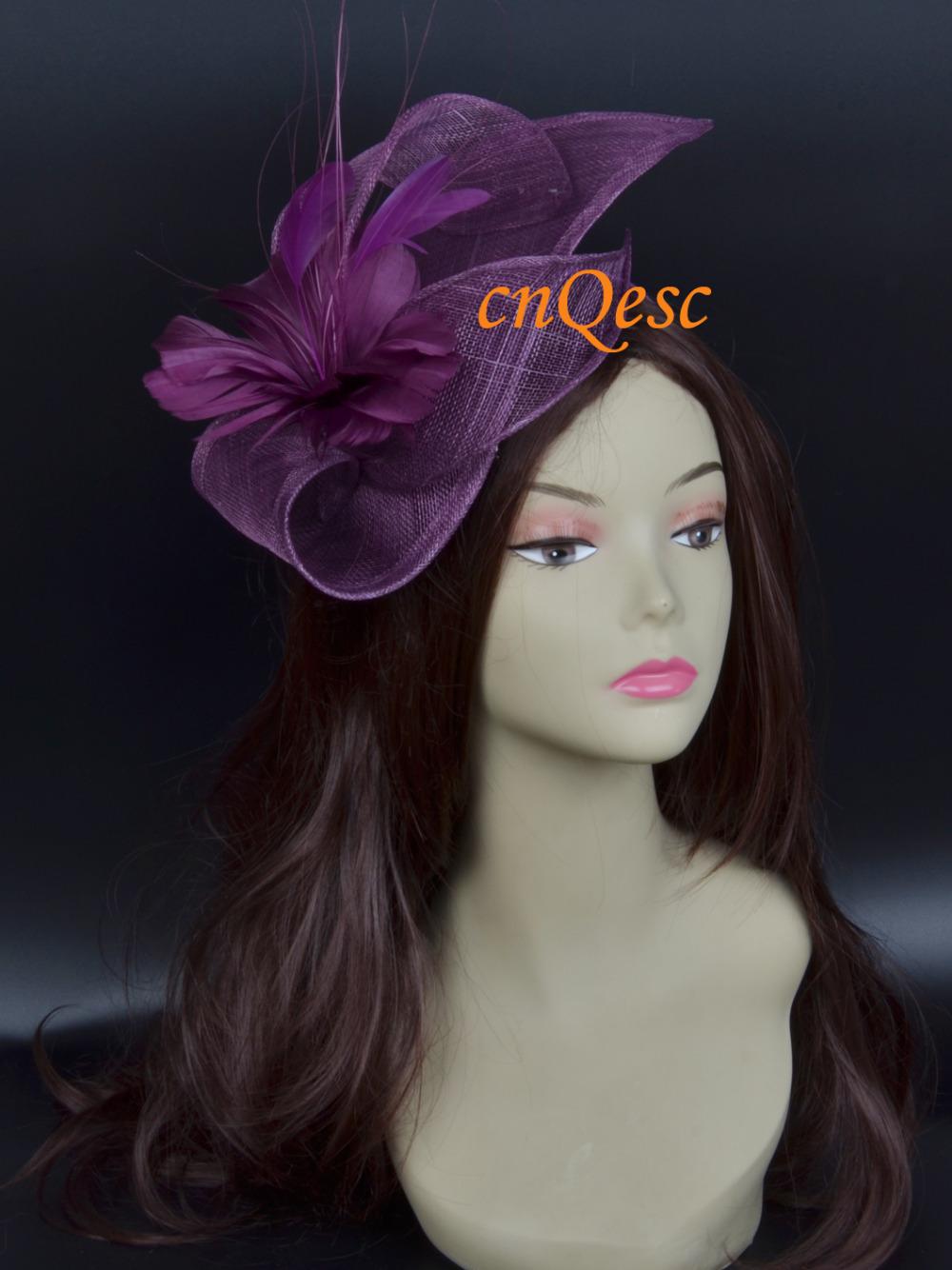 Plum purple Sinamay fascinator hat wedding hat.(China (Mainland))