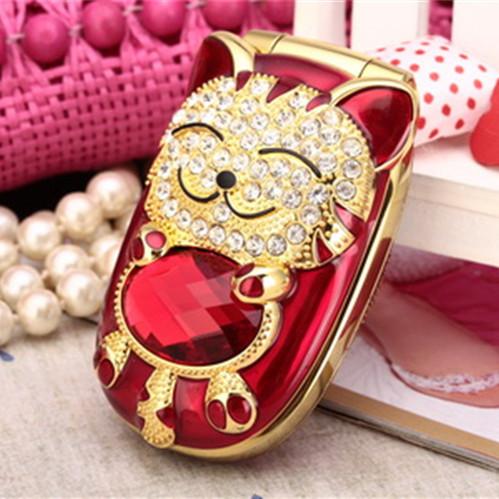Cute NIKIO C8 Flip Hello Kitty Mobile Phone Dual Sim Card Dual Standby Mini Girl Cell Phone Luxury Diamond Phone(China (Mainland))
