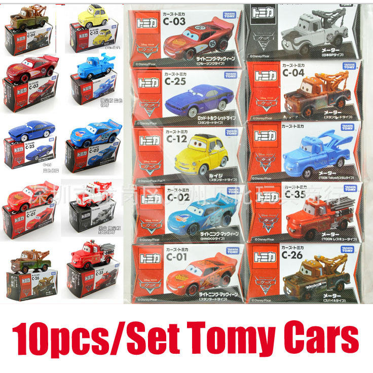 10pcs/set original hot toys kid mini cute cars 2 toys cartoon moveis mater alloy metal race car diecast model car toys for kids(China (Mainland))