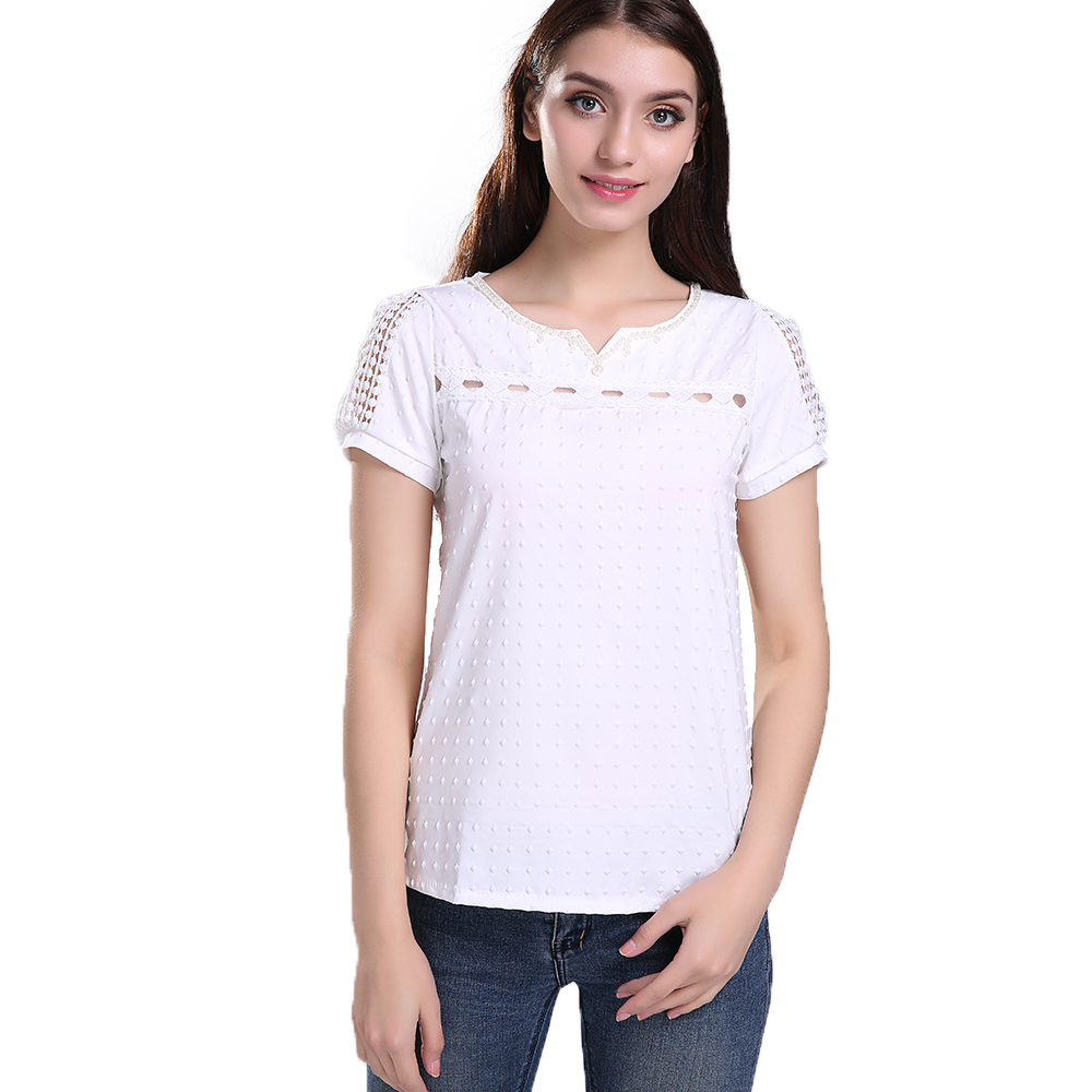 S xxl women tropical blusa lace short sleeve shirt v neck for Tops shirts and blouses