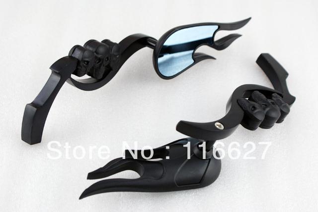 Бесплатная доставка черное пламя зеркала 3D скелет череп для Harley Honda Kawasaki Suzuki Yamaha kTM BMW ATV Ducati