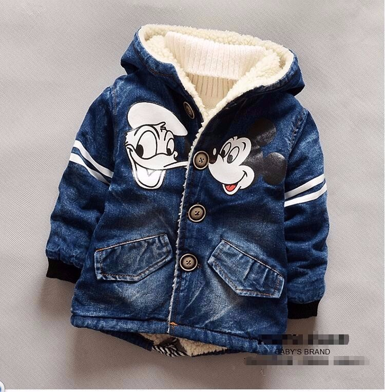 Minnie Mouse Infant Girl Winter Coat Baby Boy Padded Jacket Hooded Boys Denim Jacket 2-5T Children Thick Outerwear Bebe Clothing(China (Mainland))