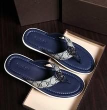 2015 luxe hommes en cuir véritable talon plat Flip pantoufles hommes d'été plage bascules sandales occasionnels classique pantoufle marque qualité(China (Mainland))