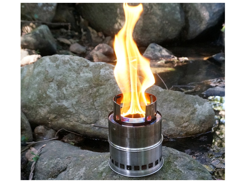 2015 new arrive design Portable stainless steel lightweight wood gas Picnic stove multi purpose fuel stove Wind camping hiking(China (Mainland))