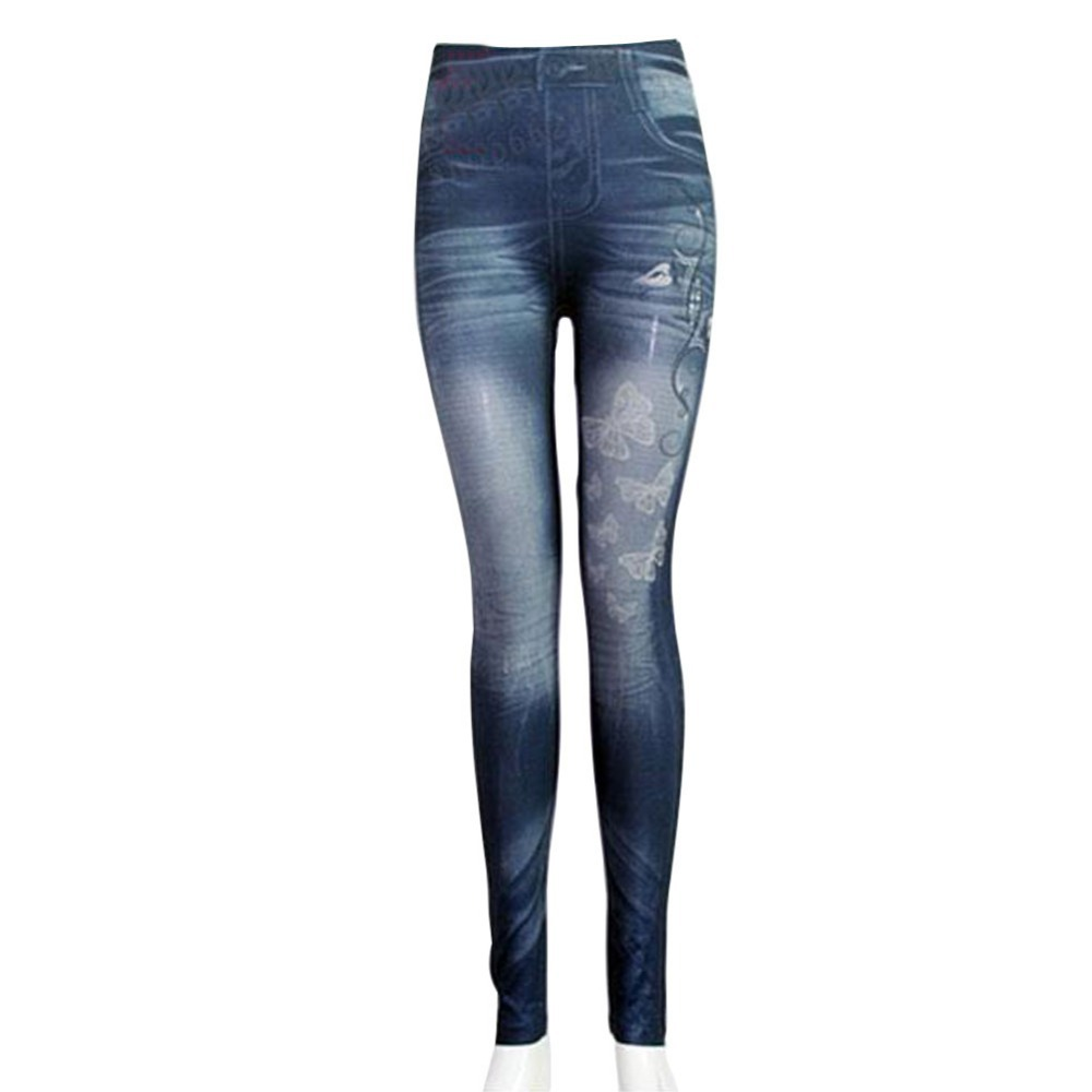 Women Sexy Tattoo Legging Jean Look Leggings Punk Sport Academies American Apparel Jeans Pants Woman HB88
