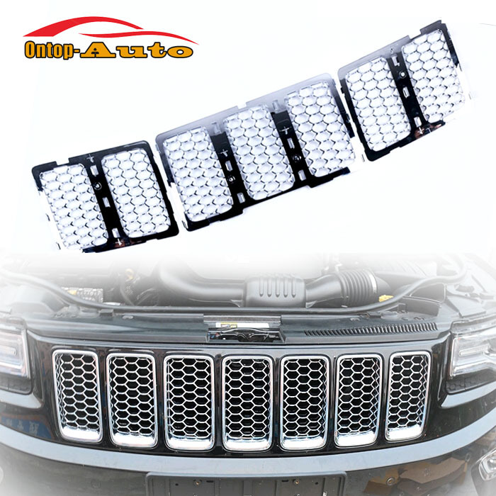 Фотография 7pcs Chrome Silver Insert Front Mesh Grille Grill For Jeep Grand Cherokee 2014