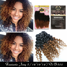 """Free Shipping 3Pcs/ Pack Hair Bliss Gold Remy 180G (Fantastic Jerry 3)14"""" 16""""18"""" Color T1B/30# curly Hair Extentions"""