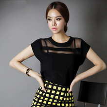 2015 Summer Ladies Black Tops Chiffon Shirts Blouses Women Sheer Cheap Clothes China Femininas Camisas Clothing Female Plus Size(China (Mainland))