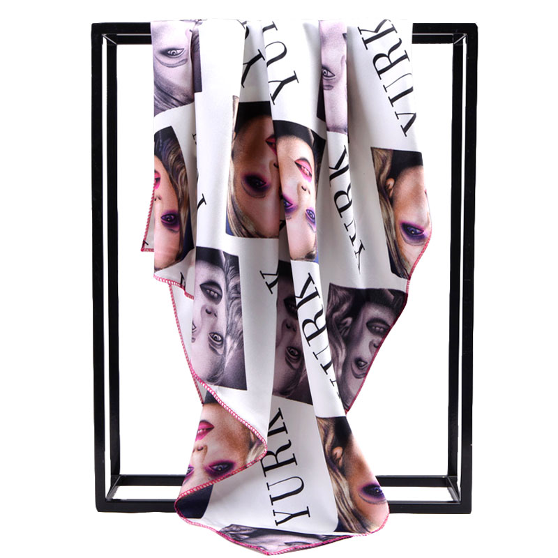100% Silk Scarf Women Scarves 2016 Foulard NeckerChief Character Silk Bandana Small Square Silk Scarfs Geometry Office Lady Gift(China (Mainland))